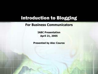 Introduction to Blogging
