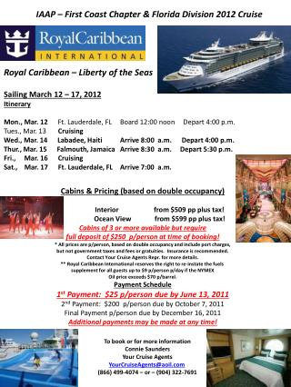 Sailing March 12 – 17, 2012 Itinerary