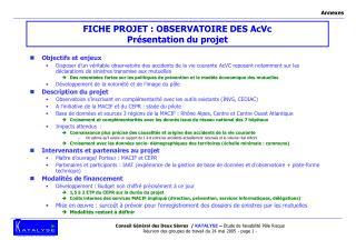 FICHE PROJET : OBSERVATOIRE DES AcVc  Présentation du projet