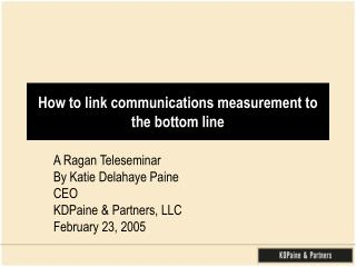 How to link communications measurement to the bottom line
