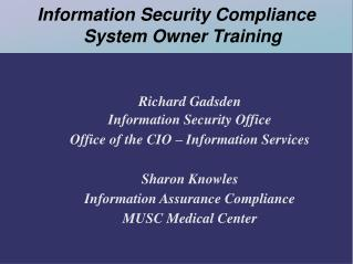 Information Security Compliance System Owner Training