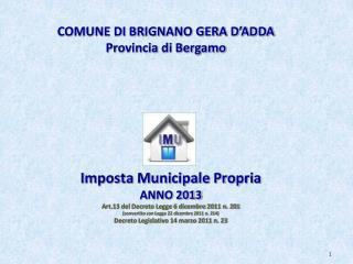 COMUNE DI BRIGNANO GERA D'ADDA Provincia di Bergamo