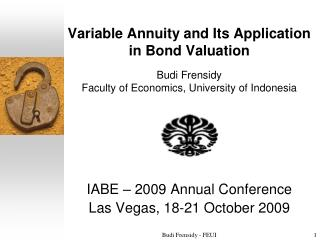IABE – 2009 Annual Conference Las Vegas ,  18-21 October  2009