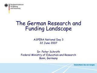 ASPERA National Day 3  22 June 2007 Dr. Peter Schroth Federal Ministry of Education and Research