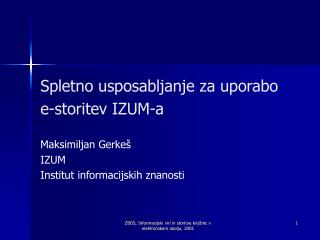 Spletno usposabljanje za uporabo e-storitev IZUM-a
