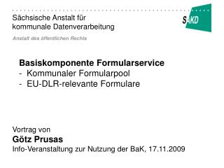 Basiskomponente Formularservice -  Kommunaler Formularpool -  EU-DLR-relevante Formulare