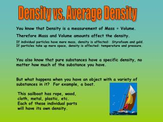Density vs. Average Density