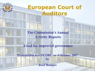 Presentation to COCOBU  on 4 October 2007 by Josef Bonnici