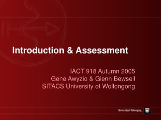 Introduction & Assessment