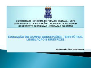 EDUCAÇÃO DO CAMPO: CONCEPÇÕES, TERRITÓRIOS, LEGISLAÇÃO E DIRETRIZES Maria Amélia Silva Nascimento