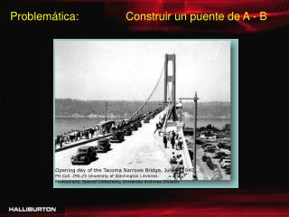 Opening day of the Tacoma Narrows Bridge, July 1, 1940 .