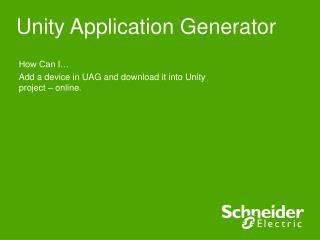 Unity Application Generator