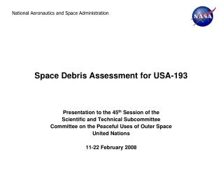 Space Debris Assessment for USA-193