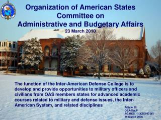 Organization of American States Committee on  Administrative and Budgetary Affairs 23 March 2010