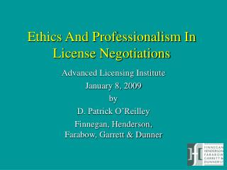 Ethics And Professionalism In License Negotiations
