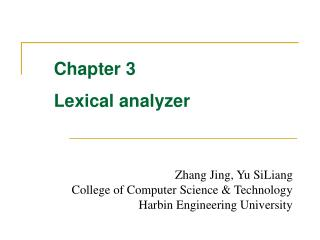 Chapter 3 Lexical analyzer