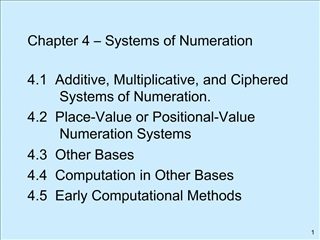 Chapter 4   Systems of Numeration  4.1  Additive, Multiplicative, and Ciphered      Systems of Numeration. 4.2  Place-Va