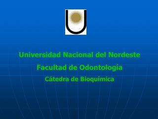 Universidad Nacional del Nordeste Facultad de Odontología Cátedra de Bioquímica