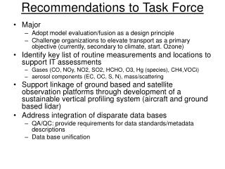 Recommendations to Task Force