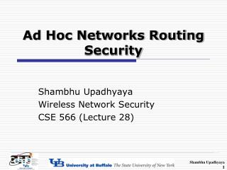 Ad Hoc Networks Routing Security