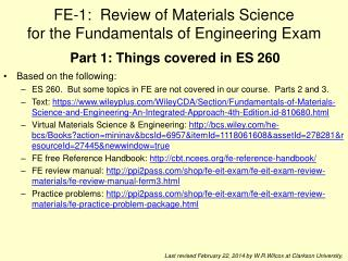 FE-1:  Review of Materials Science for the Fundamentals of Engineering Exam