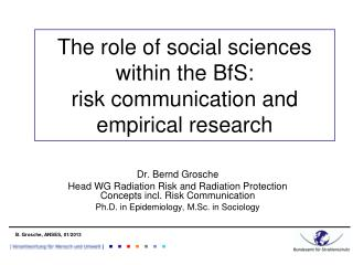 The role of social sciences within the BfS: risk communication and empirical research