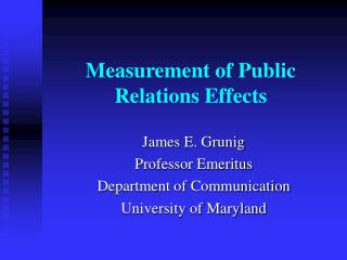 Measurement of Public Relations Effects
