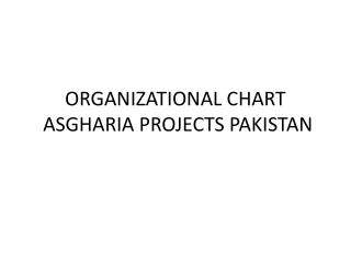 ORGANIZATIONAL CHART   ASGHARIA PROJECTS PAKISTAN
