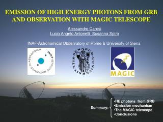 EMISSION OF HIGH ENERGY PHOTONS FROM GRB AND OBSERVATION WITH MAGIC TELESCOPE