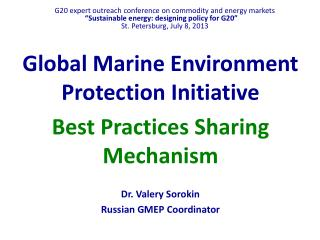 Global Marine Environment Protection Initiative  Best Practices Sharing Mechanism