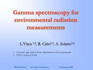 Gamma spectroscopy for environmental radiation measurements