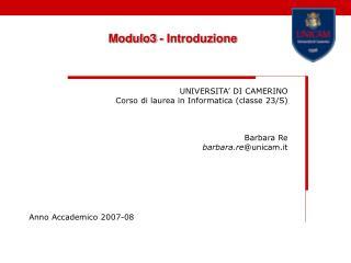 Modulo3 - Introduzione