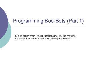 Programming Boe-Bots Part 1
