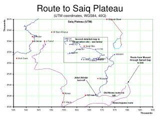 Route to Saiq Plateau (UTM coordinates, WGS84, 40Q)