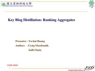 Key Blog Distillation: Ranking Aggregates