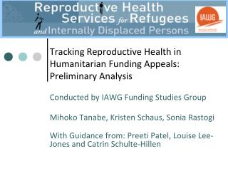 Tracking Reproductive Health in Humanitarian Funding Appeals: Preliminary Analysis