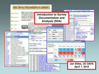 Introduction to Survey Documentation and Analysis (SDA)