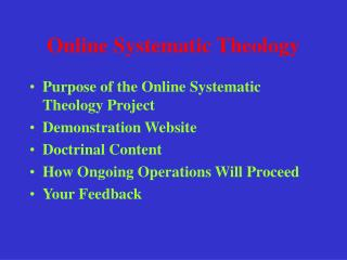 Online Systematic Theology