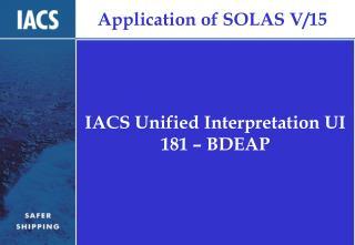 Application of SOLAS V/15