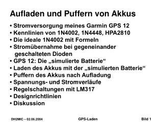 Aufladen und Puffern von Akkus • Stromversorgung meines Garmin GPS 12