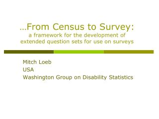 Mitch Loeb USA Washington Group on Disability Statistics