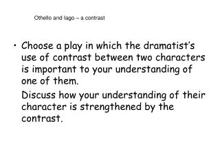 Othello and Iago – a contrast