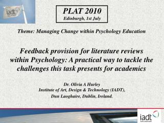 Theme: Managing Change within Psychology Education