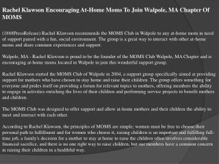 Rachel Klawson Encouraging At-Home Moms To Join Walpole