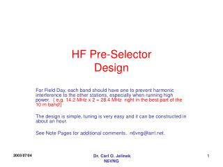 HF Pre-Selector Design
