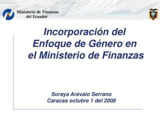 Incorporación del Enfoque de Género en  el Ministerio de Finanzas