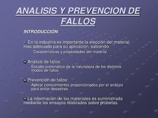 ANALISIS Y PREVENCION DE FALLOS