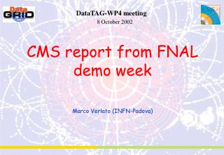 CMS report from FNAL demo week Marco Verlato (INFN-Padova)