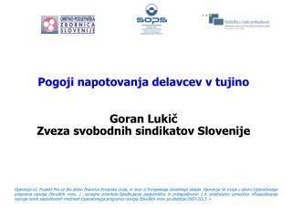 Pogoji napotovanja delavcev v tujino Goran Lukič Zveza svobodnih sindikatov Slovenije
