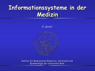 Informationssysteme in der Medizin